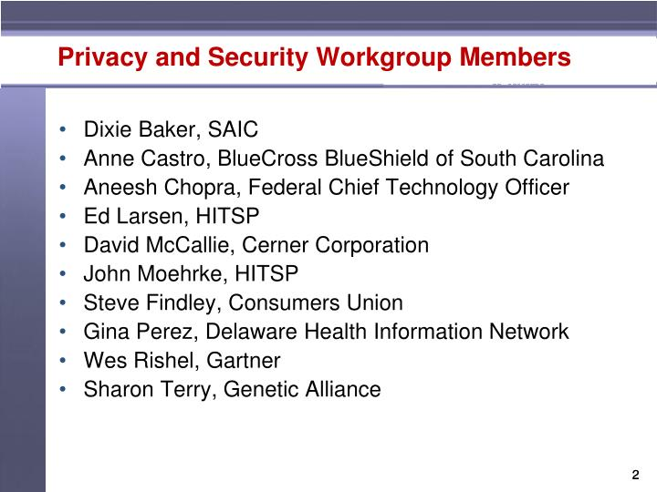Privacy and security workgroup members