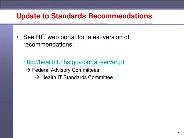 Update to Standards Recommendations