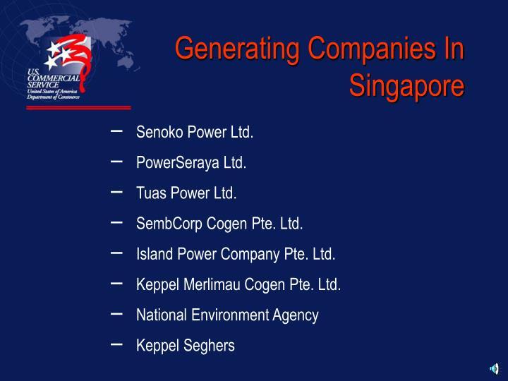 Generating Companies In Singapore