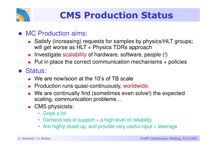 CMS Production Status