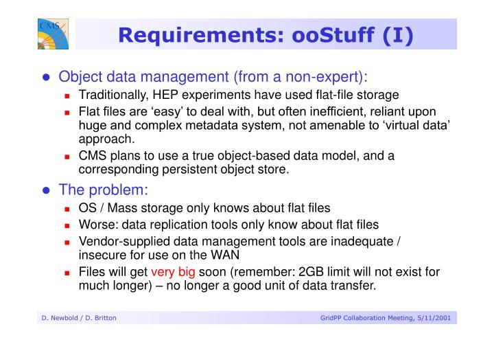 Requirements: ooStuff (I)