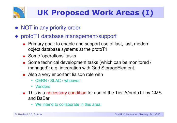 UK Proposed Work Areas (I)