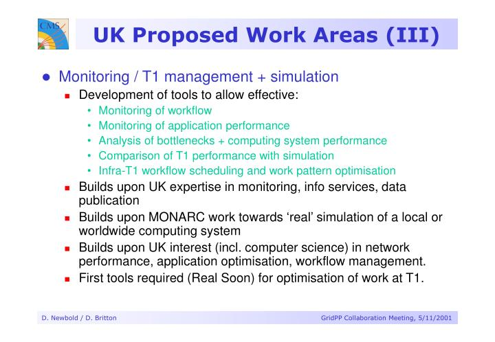 UK Proposed Work Areas (III)