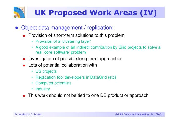 UK Proposed Work Areas (IV)