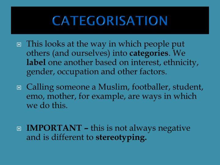 CATEGORISATION