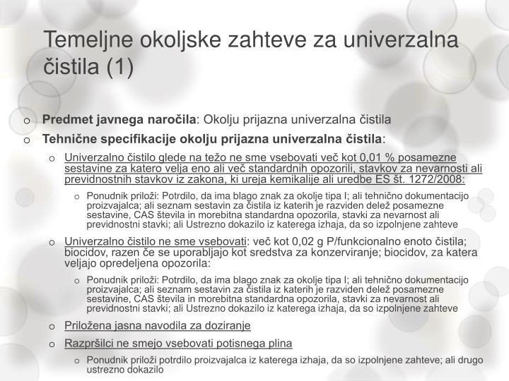 Temeljne okoljske zahteve za univerzalna čistila (1)