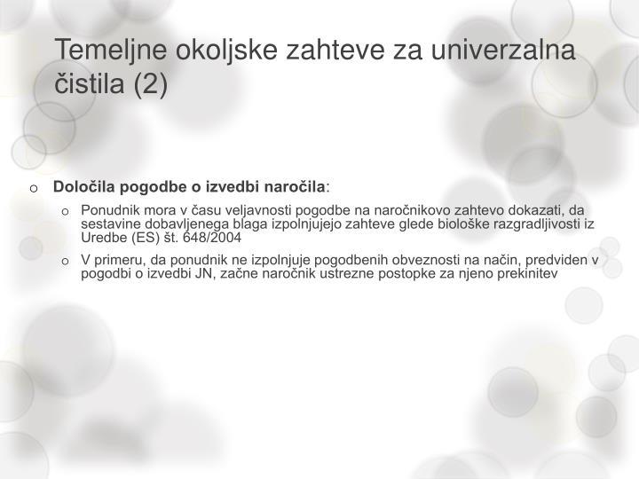 Temeljne okoljske zahteve za univerzalna čistila (2)