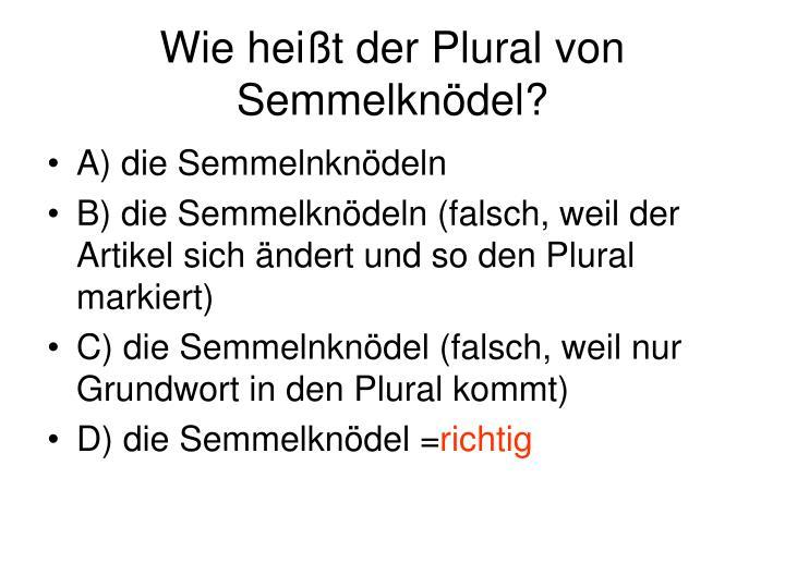 Wie heißt der Plural von Semmelknödel?