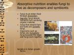 absorptive nutrition enables fungi to live as decomposers and symbionts