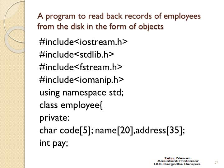 A program to read back records of employees from the disk in the form of objects