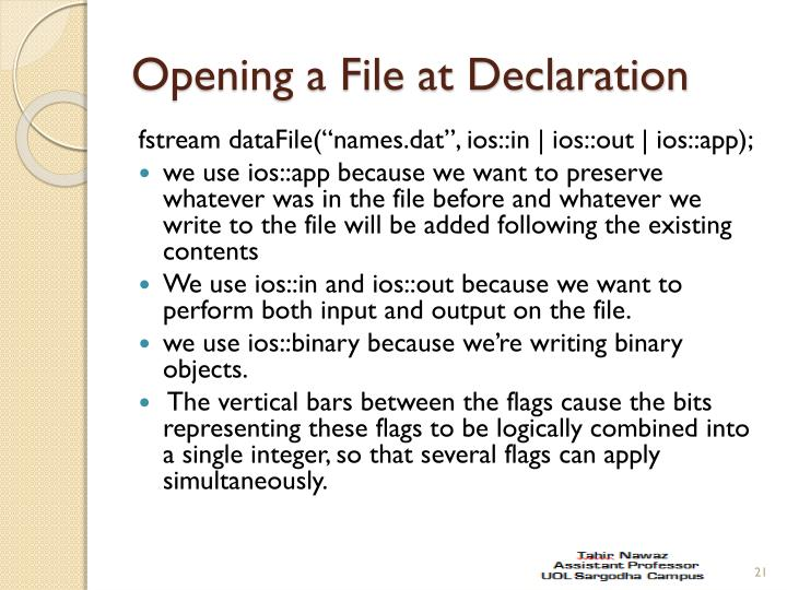 Opening a File at Declaration