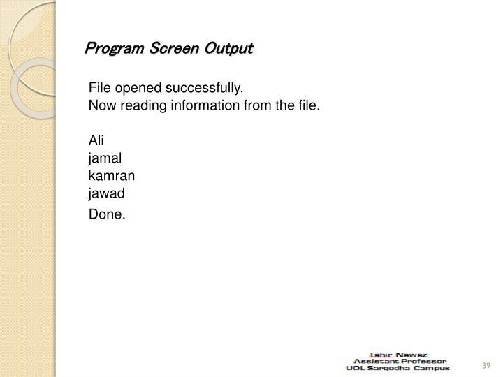 Program Screen Output