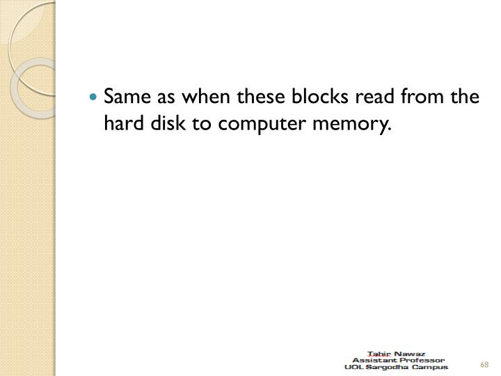 Same as when these blocks read from the hard disk to computer memory.