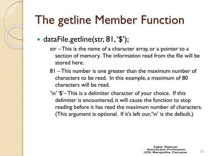 The getline Member Function