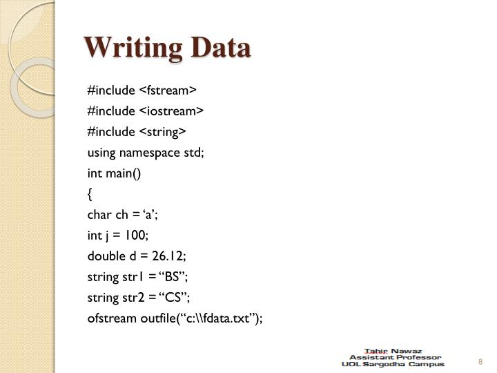 Writing Data