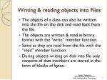 writing reading objects into files