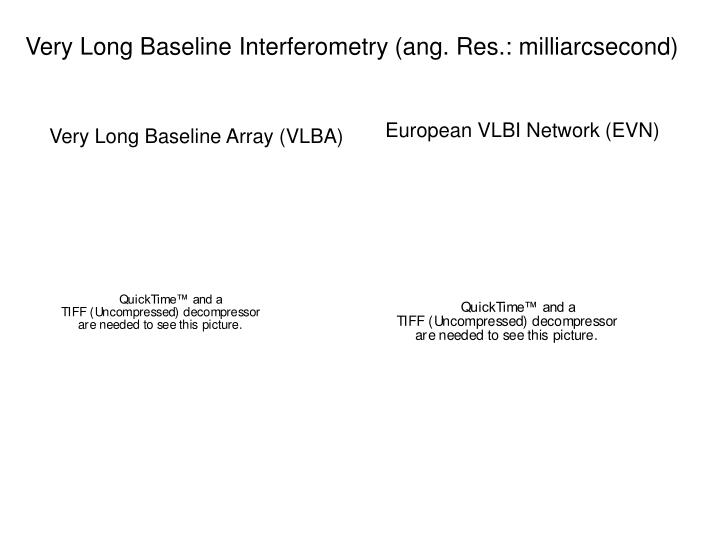 Very Long Baseline Interferometry (ang. Res.: milliarcsecond)