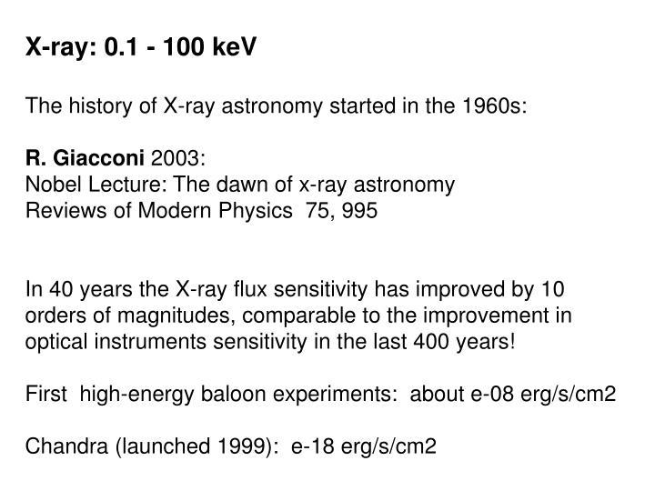 X-ray: 0.1 - 100 keV