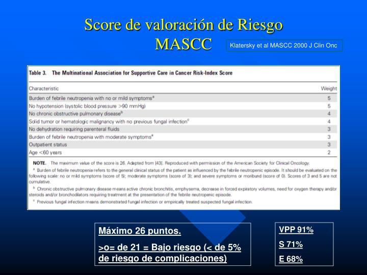 Score de valoración de Riesgo