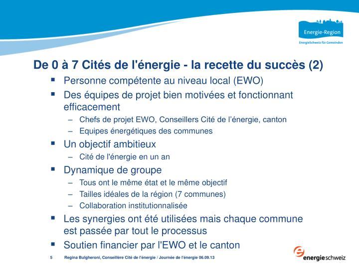 De 0 à 7 Cités de l'énergie - la recette du succès (2)