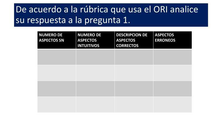 De acuerdo a la rúbrica que usa el ORI analice su respuesta a la pregunta 1.