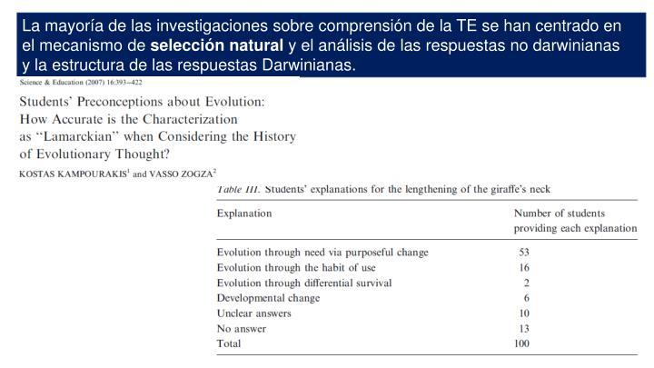 La mayoría de las investigaciones sobre comprensión de la TE se han centrado en