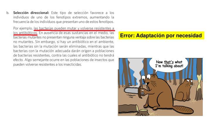 Error: Adaptación por necesidad