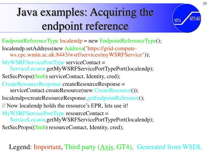Java examples: Acquiring the endpoint reference