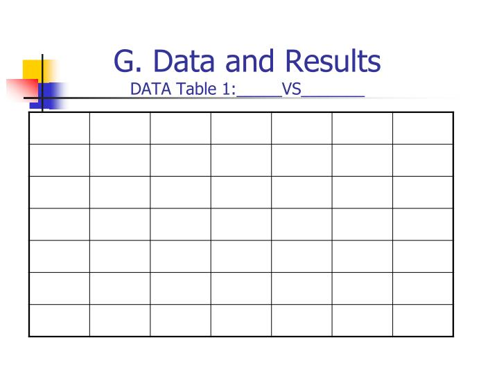G. Data and Results