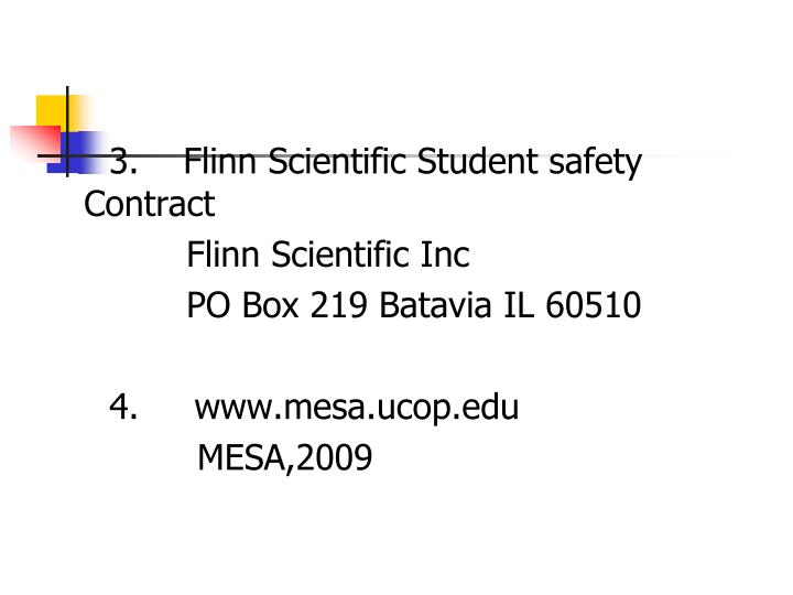 3.    Flinn Scientific Student safety Contract
