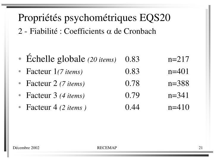 Propriétés psychométriques EQS20