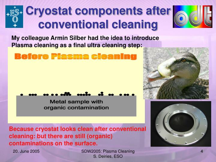 Cryostat components after conventional cleaning