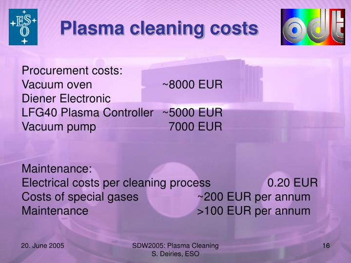 Plasma cleaning costs