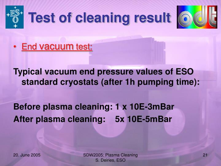 Test of cleaning result