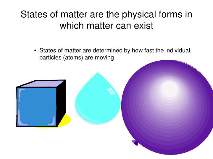 States of matter are the physical forms in which matter can exist
