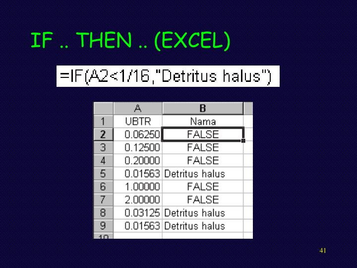 IF .. THEN .. (EXCEL)