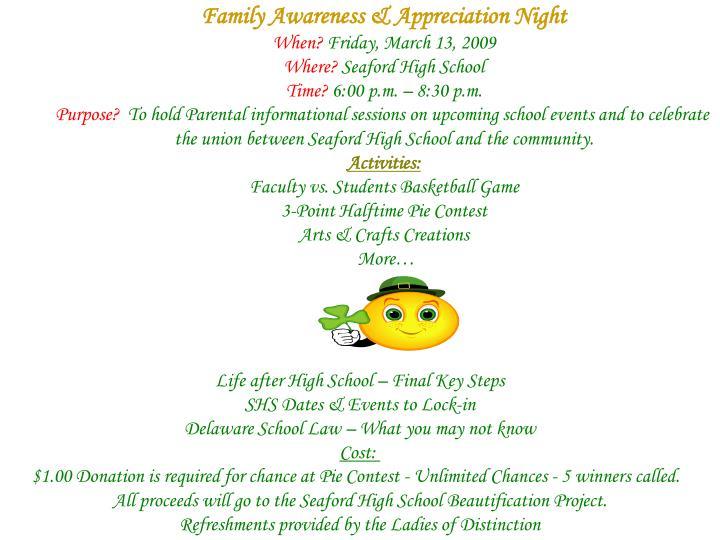 Family Awareness & Appreciation Night