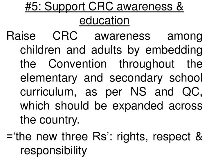 #5: Support CRC awareness & education