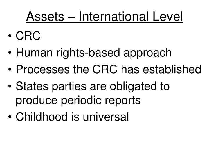 Assets – International Level