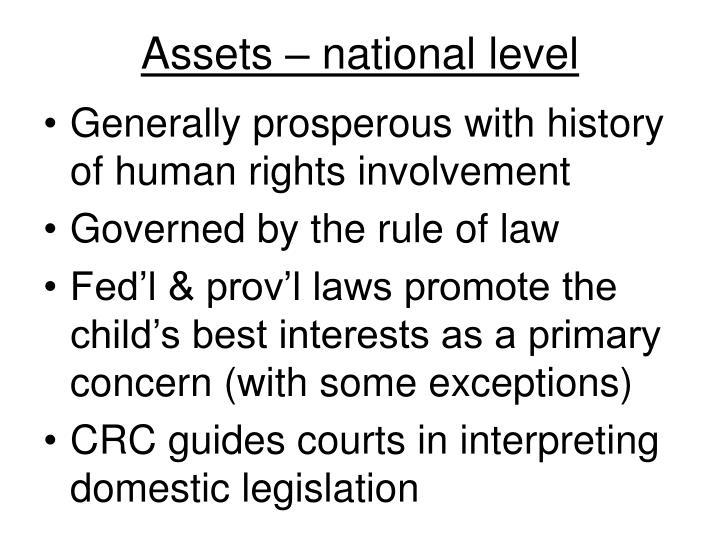 Assets – national level