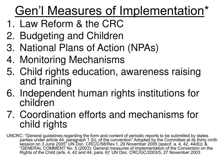 Gen'l Measures of Implementation