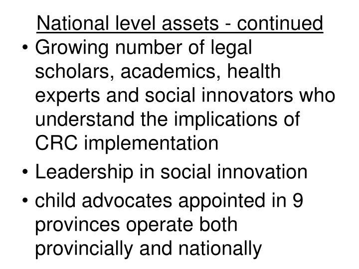 National level assets - continued
