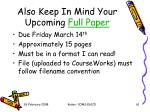 also keep in mind your upcoming full paper