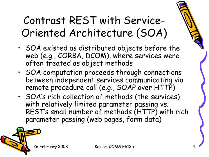Contrast REST with Service-Oriented Architecture (SOA)