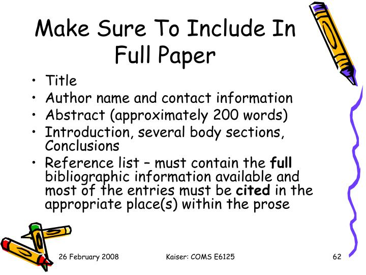 Make Sure To Include In Full Paper