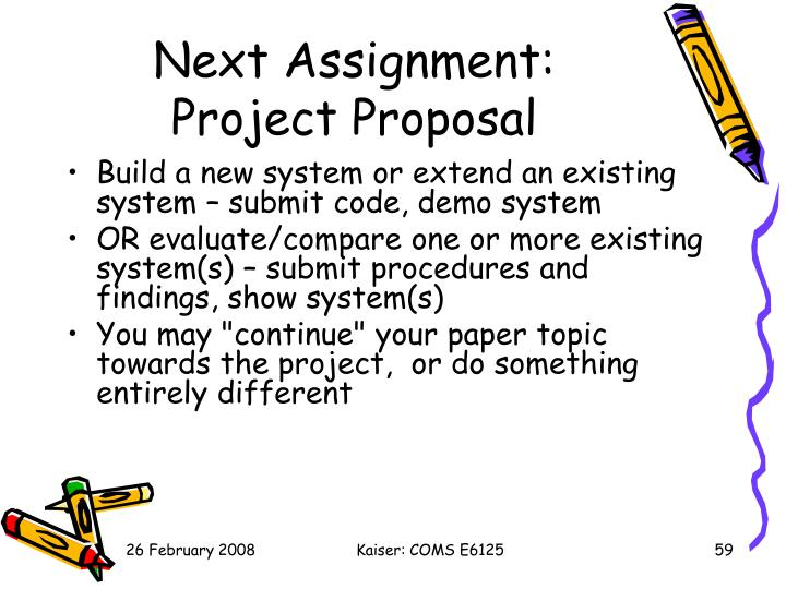 Next Assignment: Project Proposal