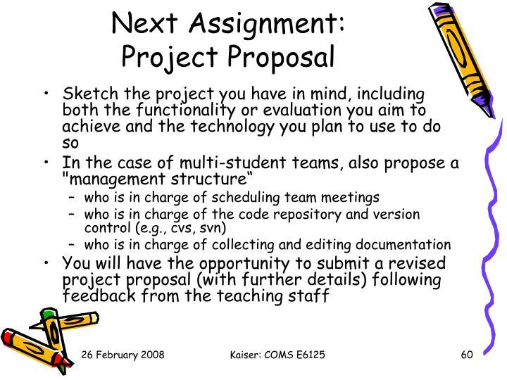 Next Assignment: