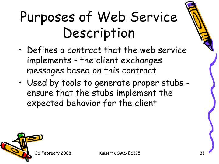 Purposes of Web Service Description