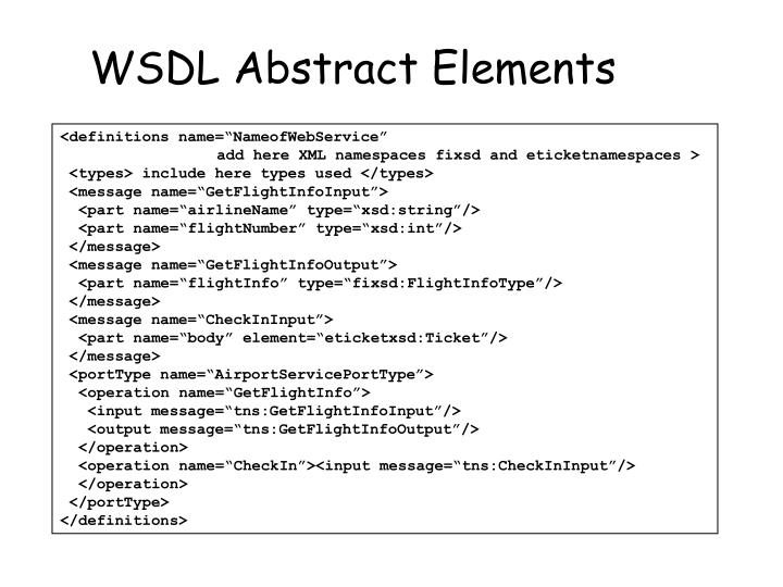 WSDL Abstract Elements