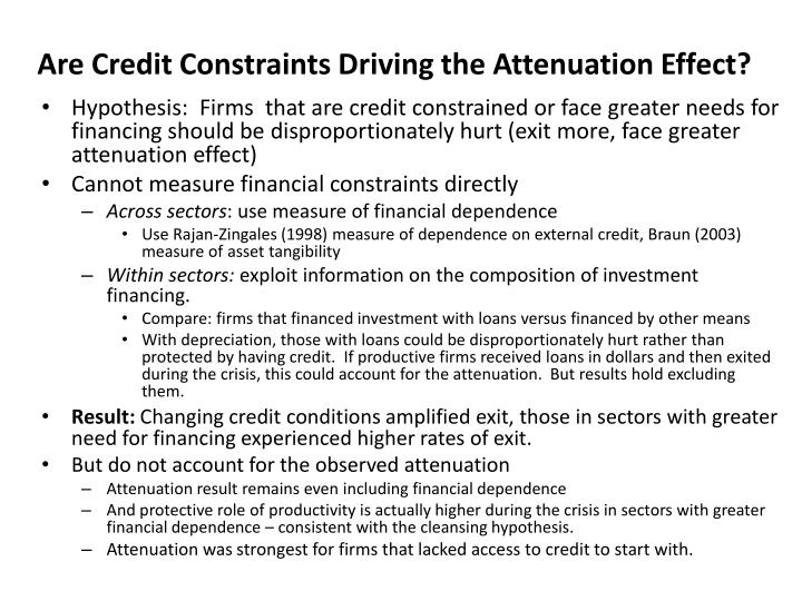 Are Credit Constraints Driving the Attenuation Effect?